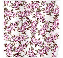 Elegant Vintage Purple Floral Pattern Poster