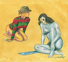 Horror Pinup (Freddy V Jason) by CostelloInk