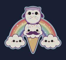 Owl Cream Cone with Rainbow One Piece - Short Sleeve