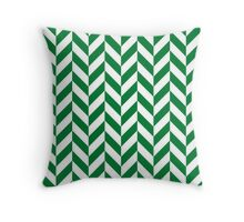 Green Offset Chevrons Throw Pillow