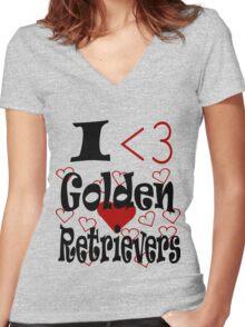 I <3 Golden Retrievers Women's Fitted V-Neck T-Shirt