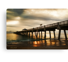 Beach Pier Sunrise Canvas Print