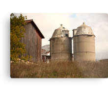 Two Old Silos Talking About the Barn Metal Print