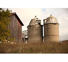 Two Old Silos Talking About the Barn Photographic Print