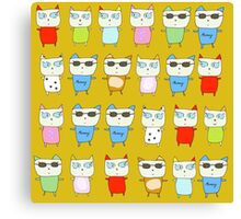 The Meow Cat Family - Yellow Canvas Print