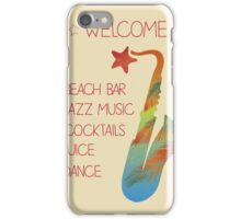Beach bar jazz poster iPhone Case/Skin