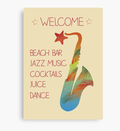 Beach bar jazz poster Canvas Print