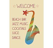 Beach bar jazz poster Photographic Print