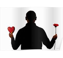 Silhouette of man holding heart and rose Poster