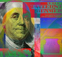 Pop-Art Colorized One Hundred US Dollar Bill Sticker