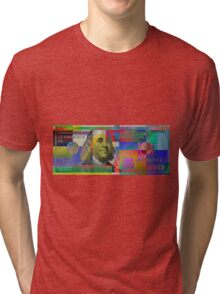 Pop-Art Colorized One Hundred US Dollar Bill Tri-blend T-Shirt