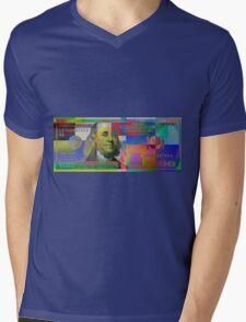 Pop-Art Colorized One Hundred US Dollar Bill Mens V-Neck T-Shirt