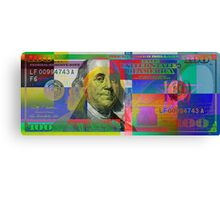 Pop-Art Colorized One Hundred US Dollar Bill Canvas Print