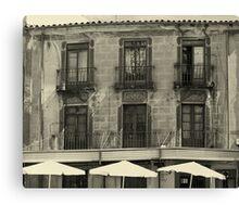 Monochrome restaurant scene Canvas Print