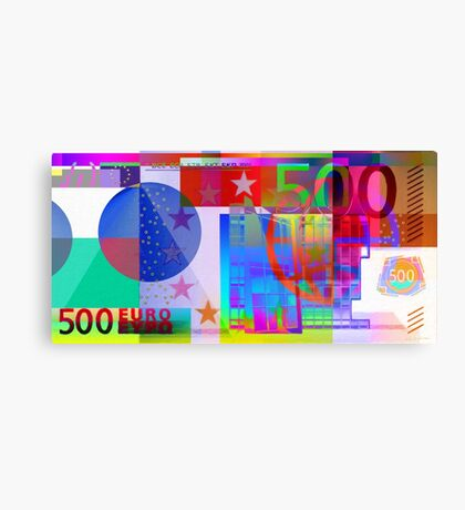 Pop-Art Colorized Five Hundred Euro Bill Canvas Print