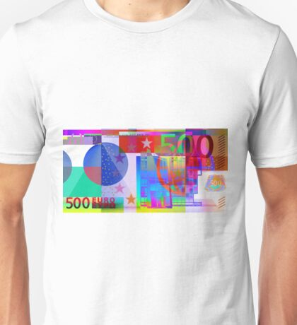 Pop-Art Colorized Five Hundred Euro Bill Unisex T-Shirt
