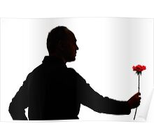 Silhouette of mature man holding rose Poster