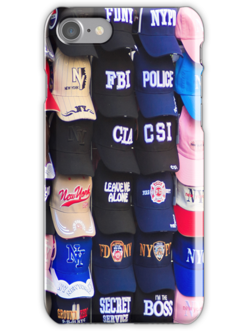 An array of baseball caps by Sue Leonard