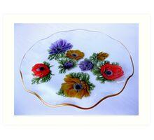 Glass Cake Dish with Anemone Pattern Art Print