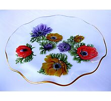 Glass Cake Dish with Anemone Pattern Photographic Print