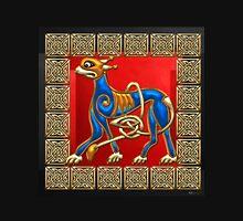 Sacred Celtic Lion on Red and Black Unisex T-Shirt