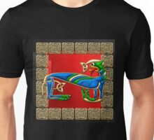 Sacred Celtic Lioness on Red and Black Unisex T-Shirt