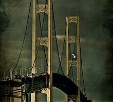 Fall Storms at the Mackinac Bridge by Theodore Black