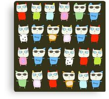 The Meow Cat Family - Dark Canvas Print