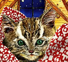 Kitten in a Quilt by EllenCoffin