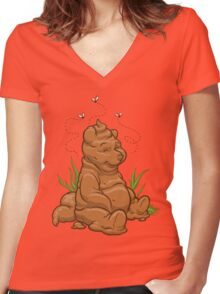 POO BEAR Women's Fitted V-Neck T-Shirt