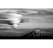Lenticular clouds Over Mt. Rainier Photographic Print