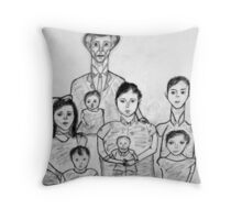 Family Sketch 02 Throw Pillow
