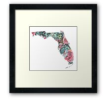 Floral Florida State Framed Print