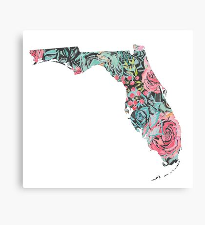 Floral Florida State Canvas Print