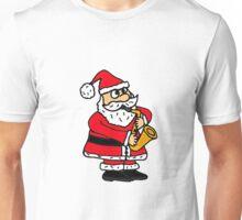 Cool Funny Santa Claus Playing Saxophone Unisex T-Shirt