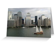Lower Manhattan showing the tower growing on the 9/11 site Greeting Card