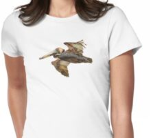 Brown Pelican Flight with Vintage Seafoam Stripe (California Bird) Womens Fitted T-Shirt