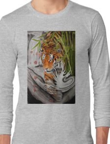 Tiger and waterfall Long Sleeve T-Shirt