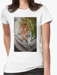 Tiger and waterfall Womens Fitted T-Shirt