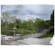 Japanese Designed Garden with Bridge and Sculpture Poster