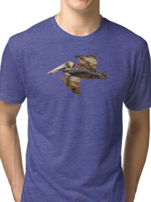 Brown Pelican Flight with Vintage Burgundy Stripe (California Bird) Tri-blend T-Shirt