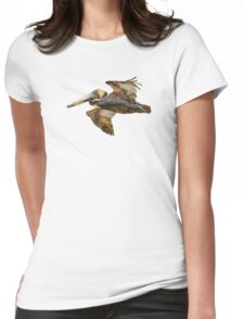 Brown Pelican Flight with Vintage Burgundy Stripe (California Bird) Womens Fitted T-Shirt