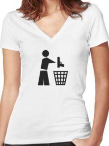 Bin your guns Women's Fitted V-Neck T-Shirt