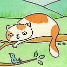 Ginger and White Cat Watching Bird by zoel