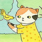 Calico Cat with a Yellow Bird by zoel