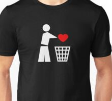 Bin your heart white - red heart Unisex T-Shirt