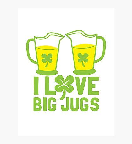 I love BIG JUGS green shamrocks St Patricks day beer jugs Photographic Print