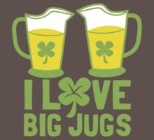 I love BIG JUGS green shamrocks St Patricks day beer jugs One Piece - Short Sleeve