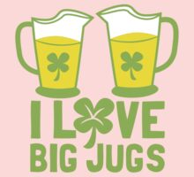 I love BIG JUGS green shamrocks St Patricks day beer jugs Baby Tee