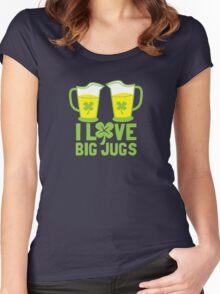 I love BIG JUGS green shamrocks St Patricks day beer jugs Women's Fitted Scoop T-Shirt